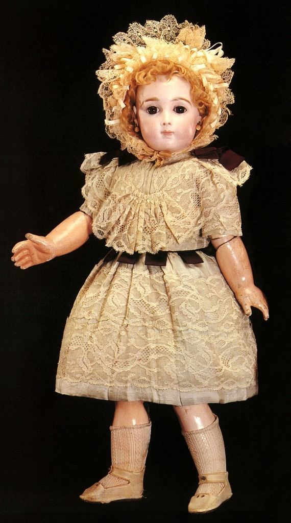 On May 18, 1993, Huguette was a bidder at a Sotheby's auction for two antique French dolls. The first, in Lot 219, was a Jumeau triste pressed bisque doll, circa 1875, with a dimple in the chin, fi xed brown glass paperweight eyes, pierced ears, blond mohair wig, in cream lacy overdress with Eau-de-Nil silk below and cream lacy and silk bonnet. The estimate was $12,000 to $15,000. She authorized her attorney to bid up to $45,000, but got it for $14,933.