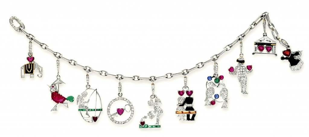 An art deco diamond and multi-gem charm bracelet with charms, by Cartier, circa 1925. Sale price in 2012, $75,000. All these items found in Huguette Clark's safe deposit box were auctioned on April 17, 2012, by Christie's New York.