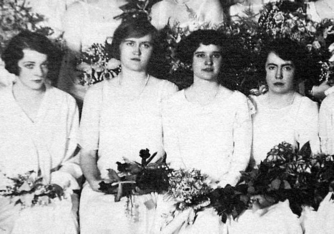 Huguette Clark, second from left, in her graduating class of 1925 from Miss Spence's Boarding and Day School for Girls, New York.