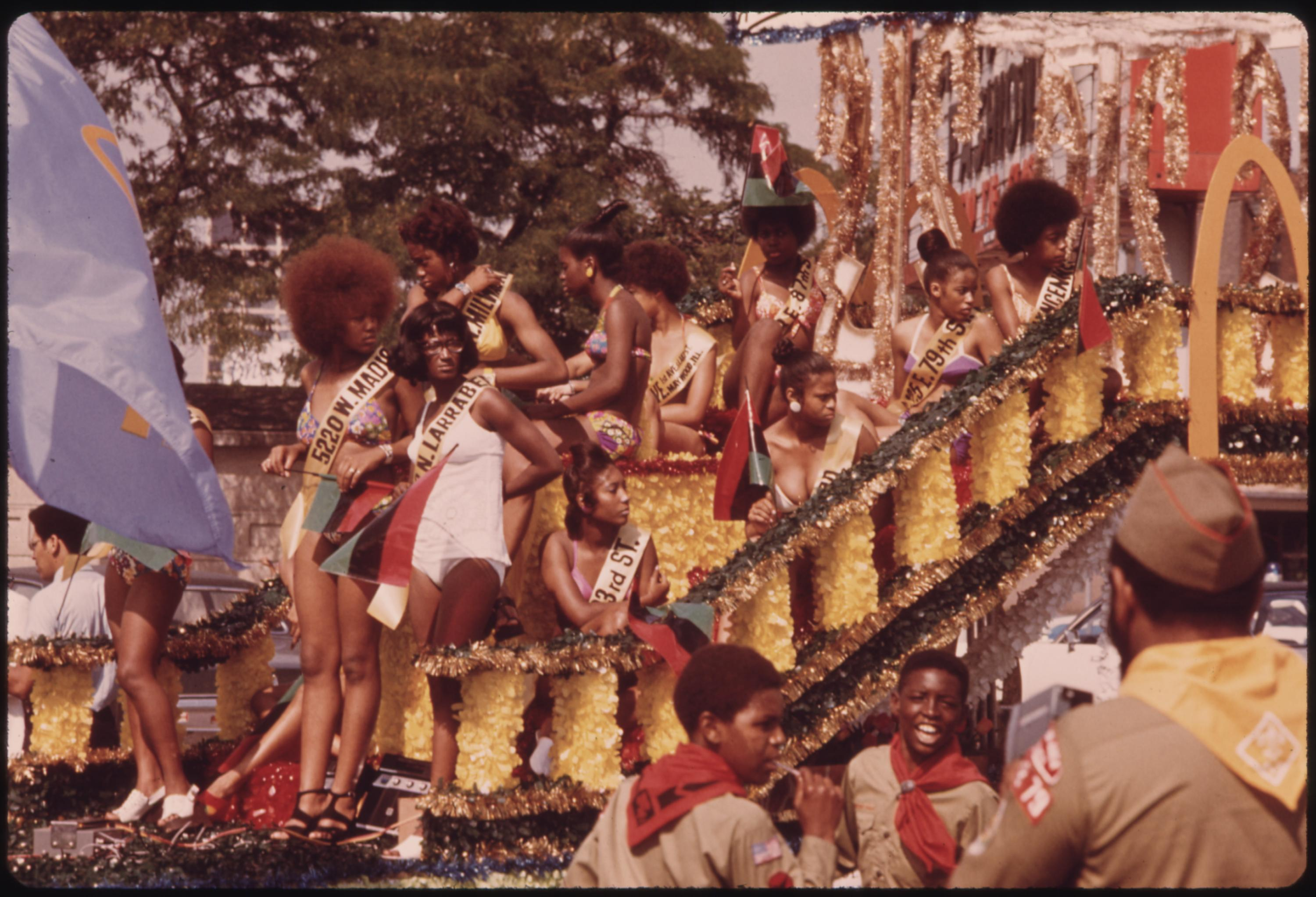 08:1973  Bud Billiken Day Parade Along Dr. Martin L. King Jr. Drive On Chicago's South Side Up To Half A Million People View One Of The Largest Annual Events Of The Year