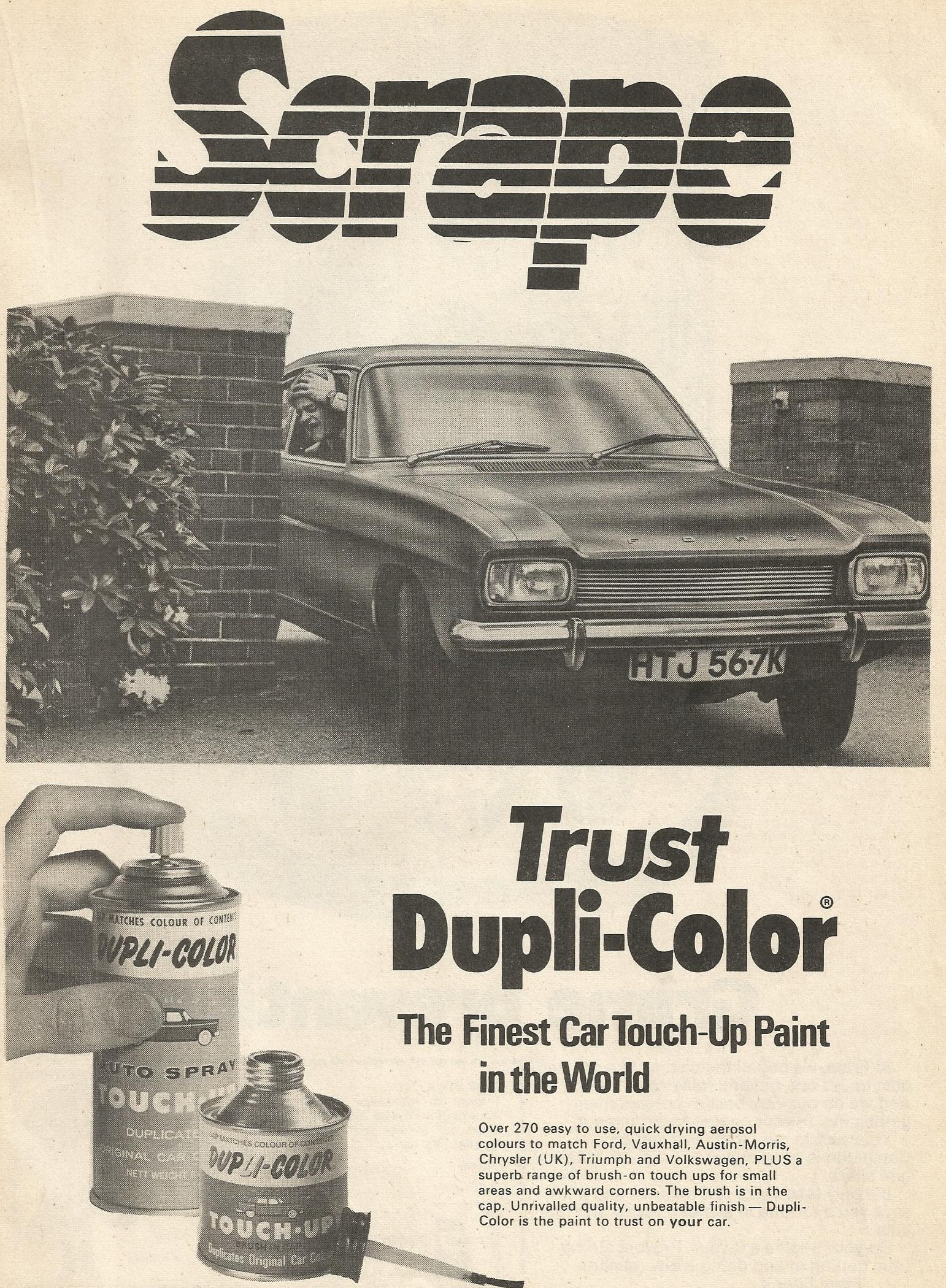 1972 DUPLI COLOUR ADVERT - FORD CAPRI HTJ567K