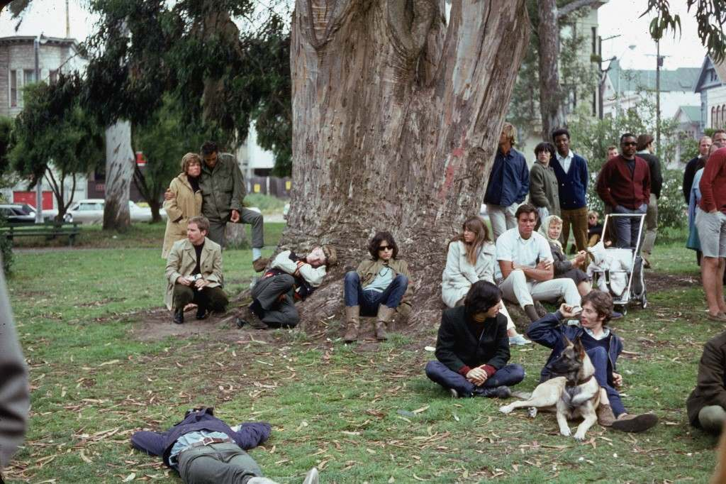 "A group of hippies gathered around a large tree during a ""happening"" at Golden Gate Park, San Francisco, California, 1967. (Photo by Warren"