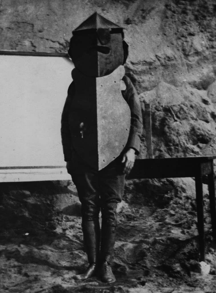 circa 1917:  A suit of heavy body armour used by the Americans in France.  (Photo by Central Press/Getty Images)