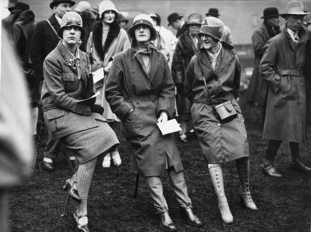29th March 1928:  Well protected against the weather women spectators at the first day of the Liverpool Spring Meeting at the Aintree racecourse.  (Photo by Brooke/Topical Press Agency/Getty Images)