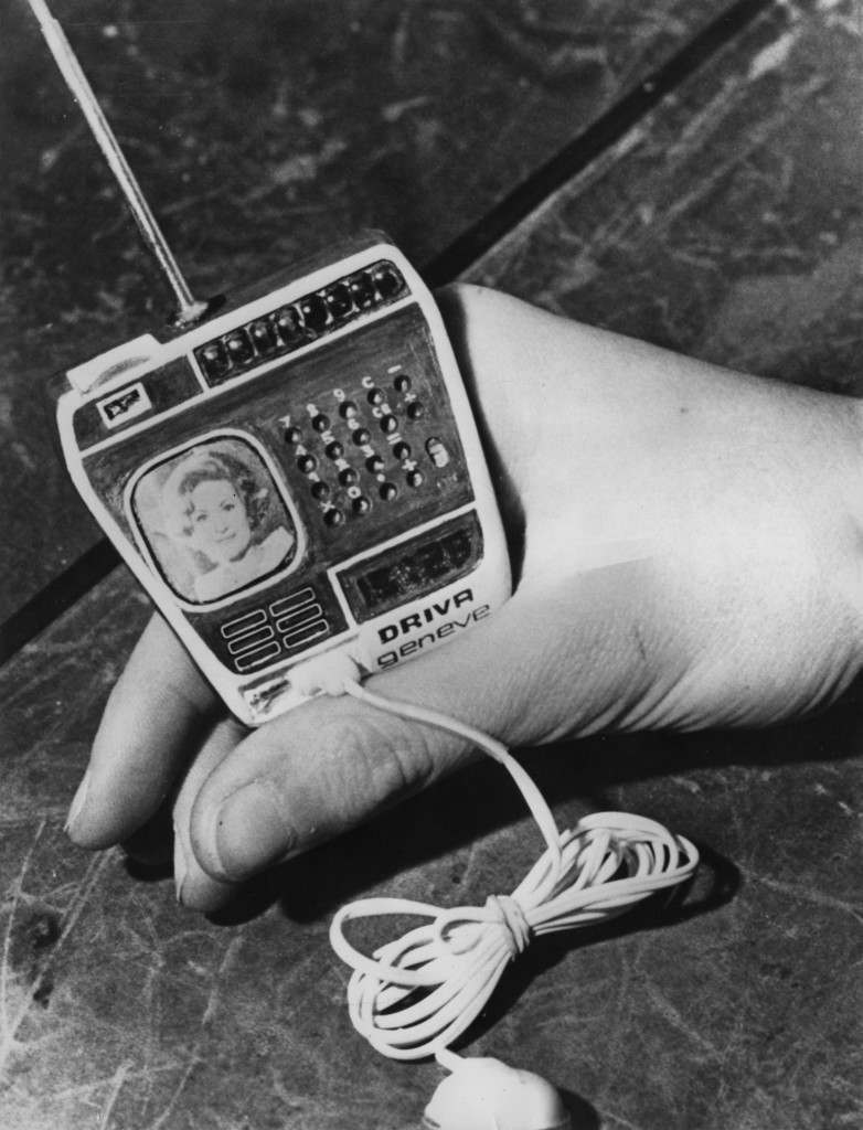 A watch, made by Driva Geneve of Switzerland, incorporating a TV, radio and calculator, 20th February 1976. The lead connects to a battery kept in the pocket. (Photo by Keystone/Hulton Archive/Getty Images)