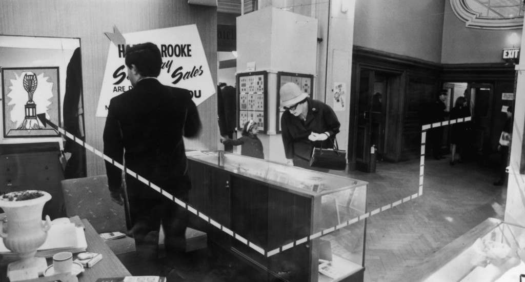 A diagram showing how the World Cup was stolen from the exhibition site in Westminster Central Hall, 22nd March 1966. The thief entered via the Matthew Parker Street entrance and made his way past the Harmer Rooke stamp stand to the cabinet containing the cup.  (Photo by Keystone/Hulton Archive/Getty Images)