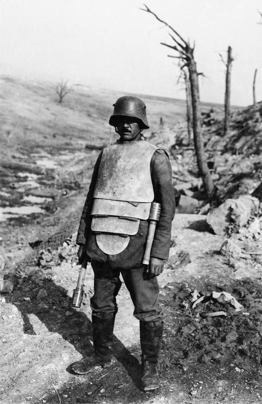 "Libanorojo • 29 weeks ago A German member of a ""Trench Attack Squad"" poses in steel body armor and two stick grenades. The armor, capable of stopping a pistol round but only superficially helpful against rifle fire, also helped protecting against bayonet and other edged weapons thrusts. The additional weight though fatigued the wearer quickly and defeated any tactical advantage he might have wearing it."