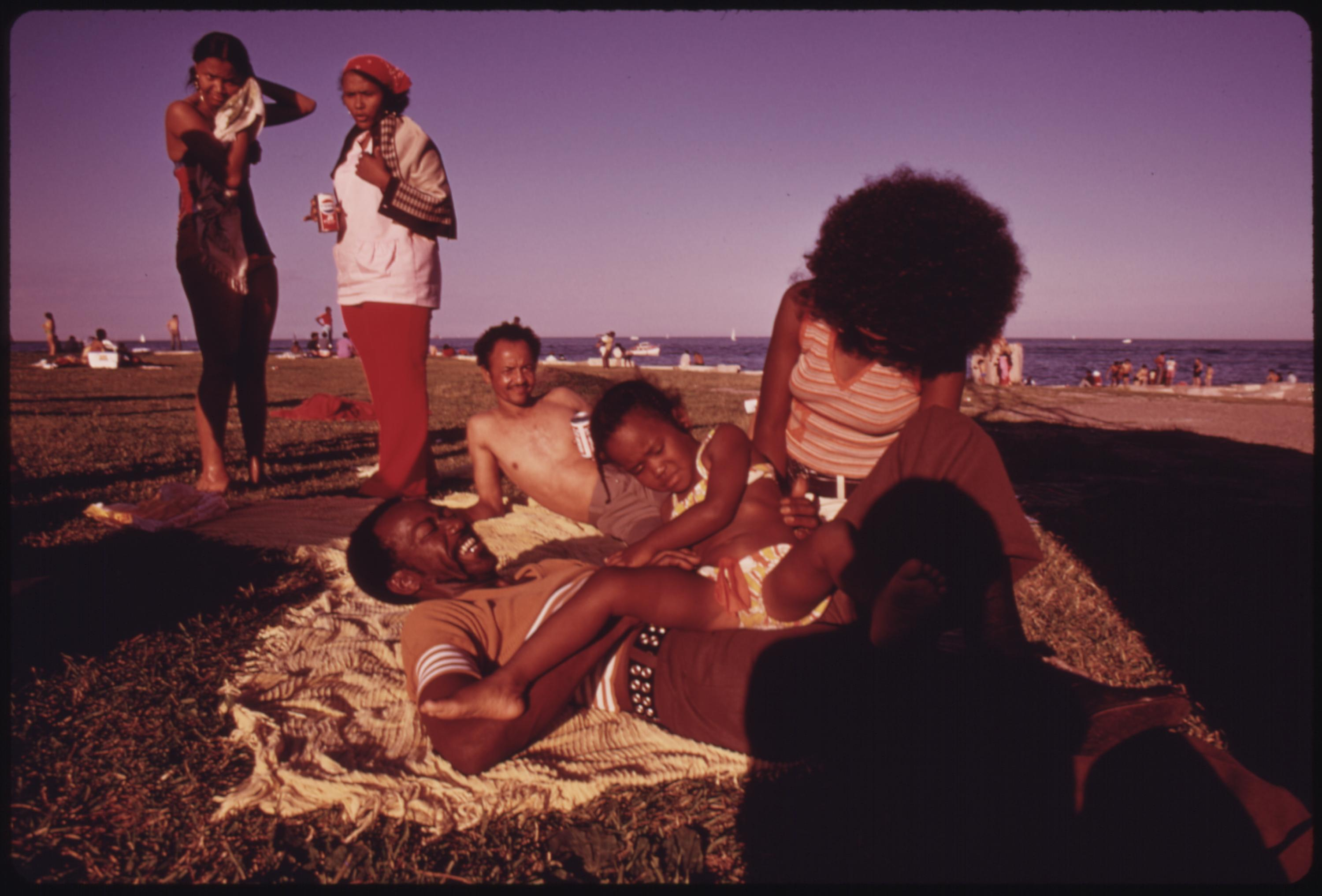 Black Family Enjoying The Summer Weather At Chicago's 12th Street Beach On Lake Michigan, 08:1973 John H. White