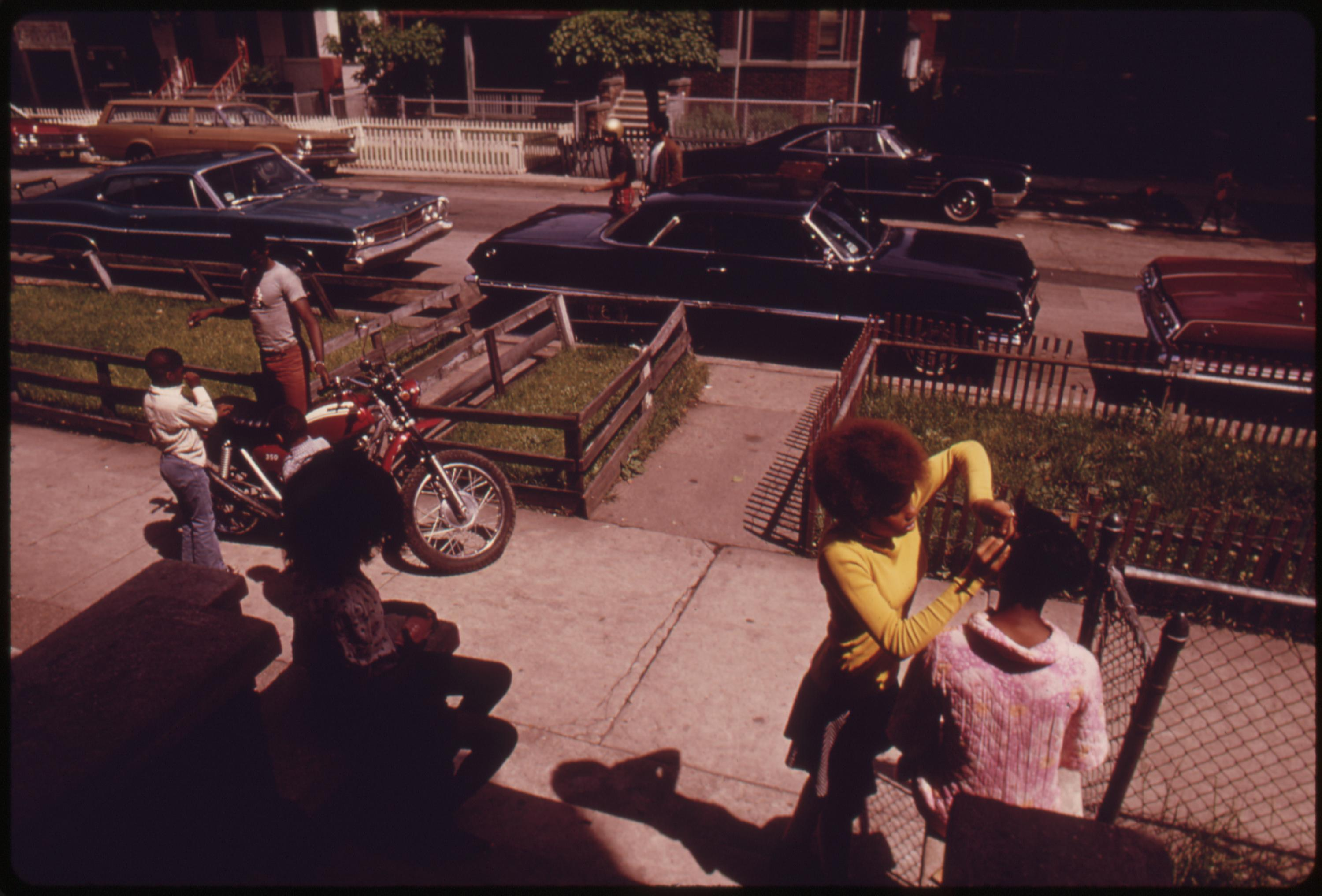 Black Neighbors Outside On Chicago's West Side. They Are Part Of The Nearly 1.2 Million People Of Their Race Who Make Up More Than One Third Of Chicago's Population, 06:1973