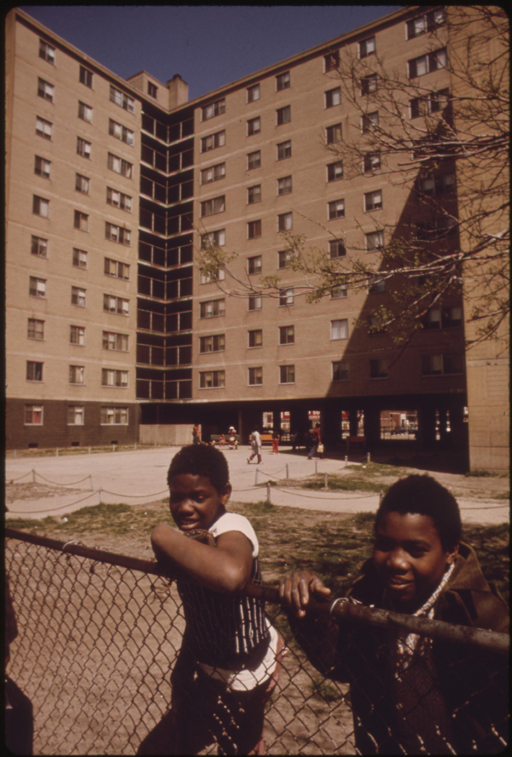 Black Youngsters Outside The Stateway Gardens Highrise Housing Project On Chicago's South Side, 05:1973
