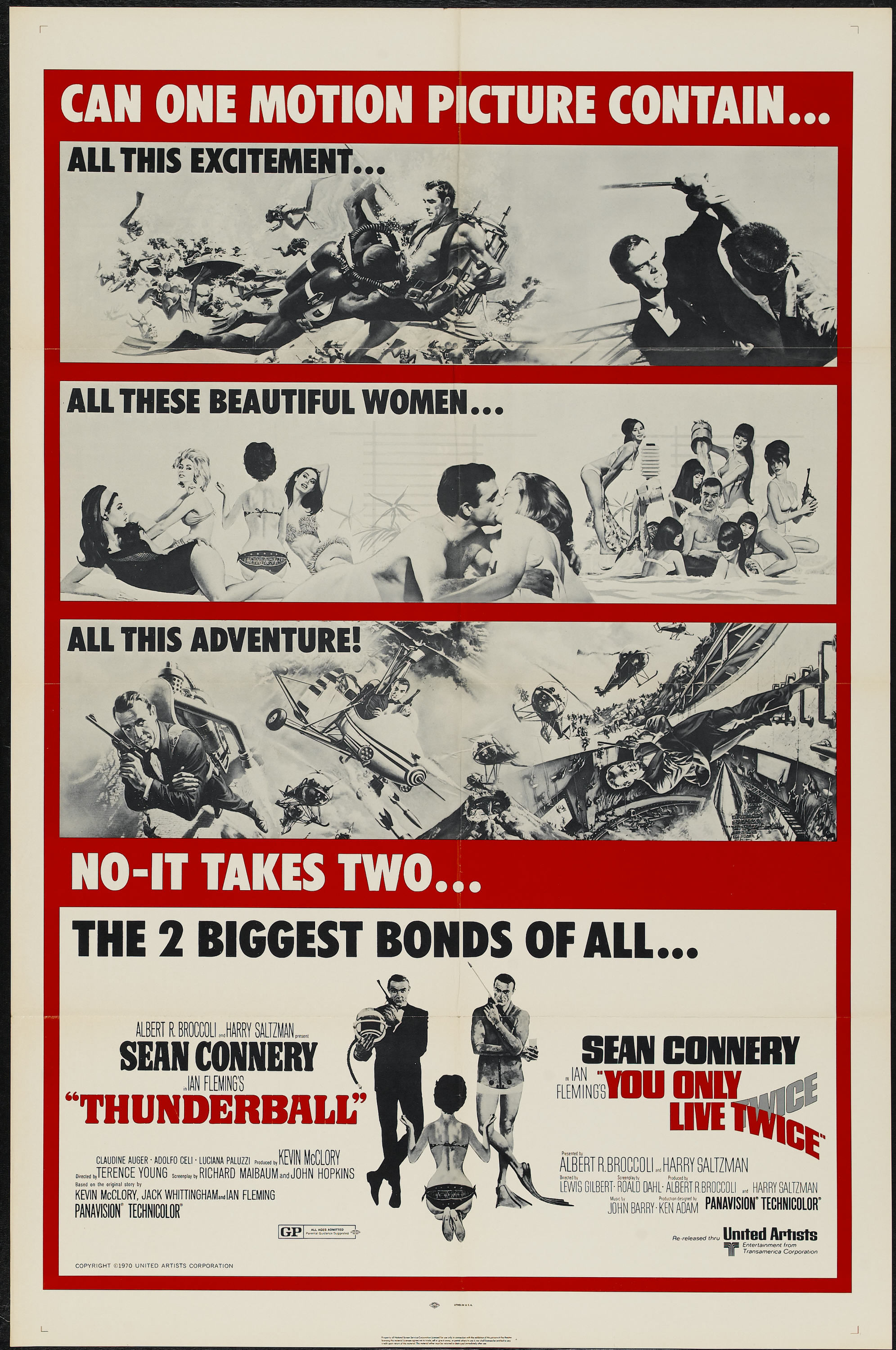 Double Bill poster Thunderball and You Only Live Twice poster