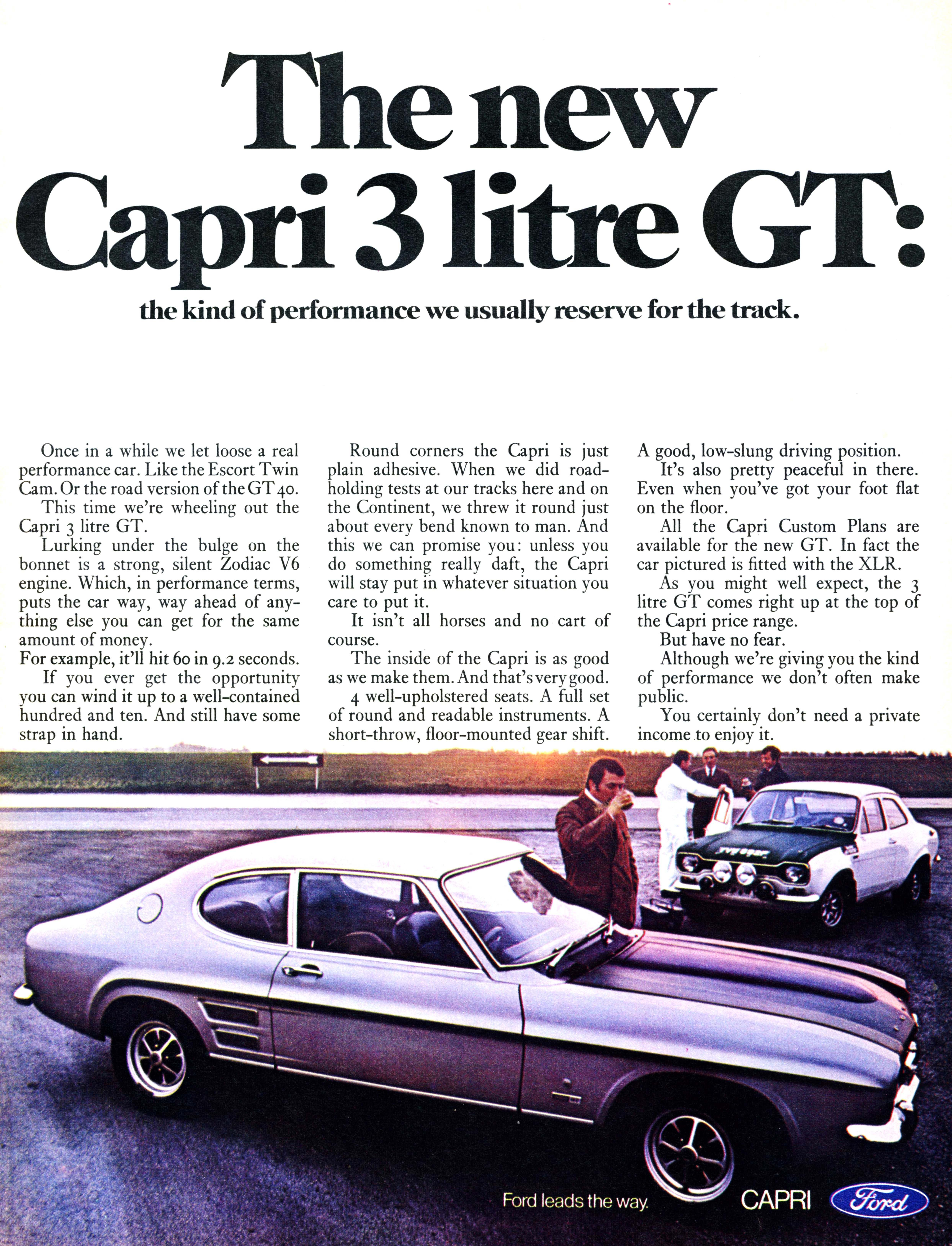Ford Capri 3000 GT  Advert scanned from 'Autocar' magazine, 9 October 1969