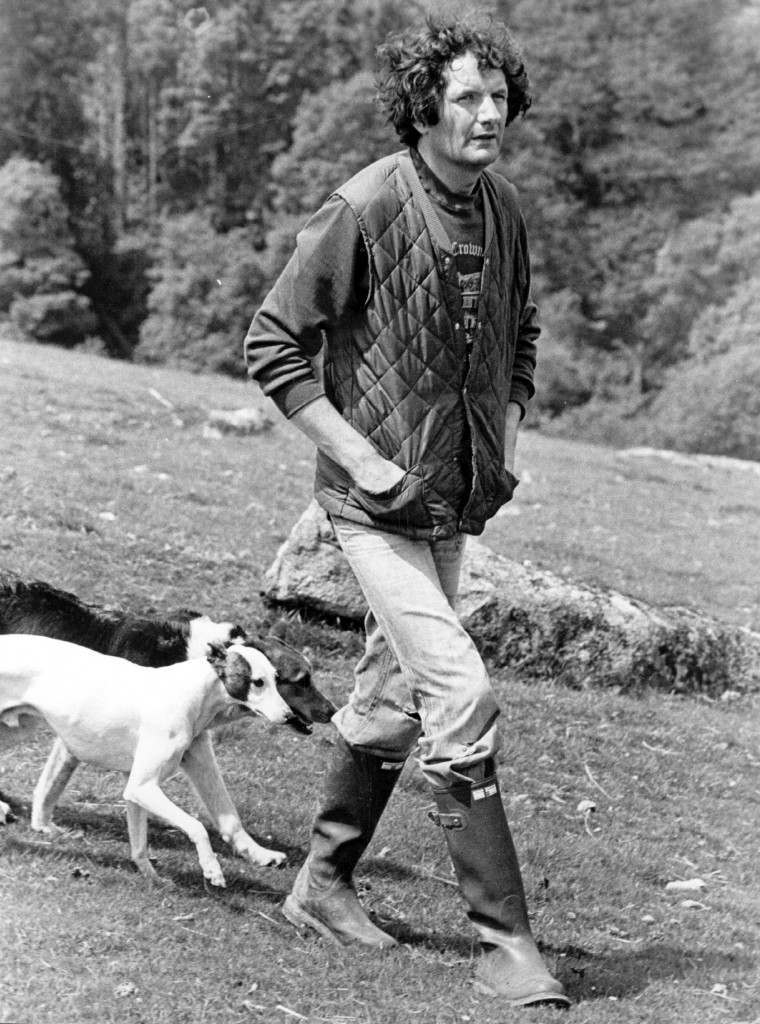 25th June 1979: Norman Scott, walking his dogs near his home in Chagford, Devon. Norman Scott accused Jeremy Thorpe, the MP, and others of trying to kill him. (Photo by Mike Moore/Evening Standard/Getty Images)