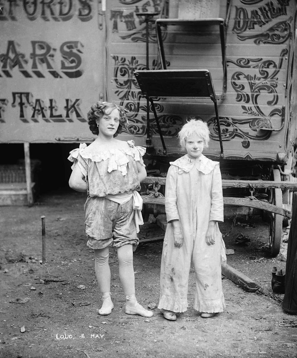 anneford's Canadian Circus, two children called Lola and May  Creator: H.F. Cooper Photographer, Strabane   Date: c.1910