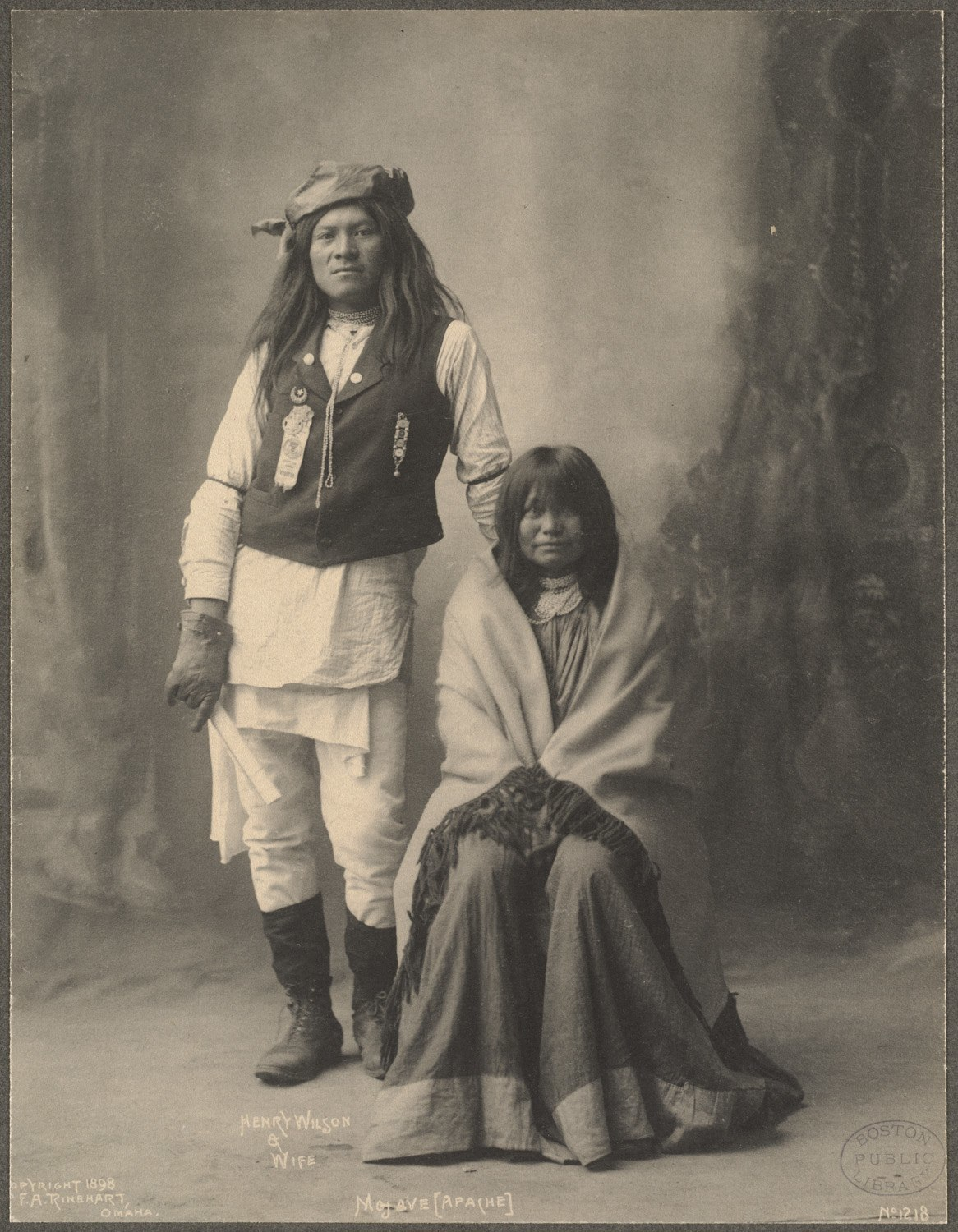 Henry Wilson & Wife, Mojave (Apache), 1899. (Photo by Frank A. Rinehart)
