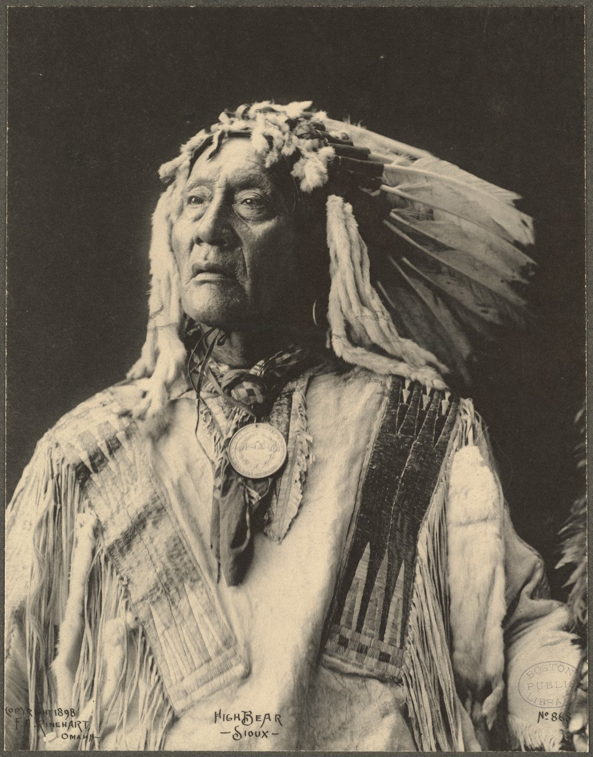 High Bear, Sioux, 1899. (Photo by Frank A. Rinehart)