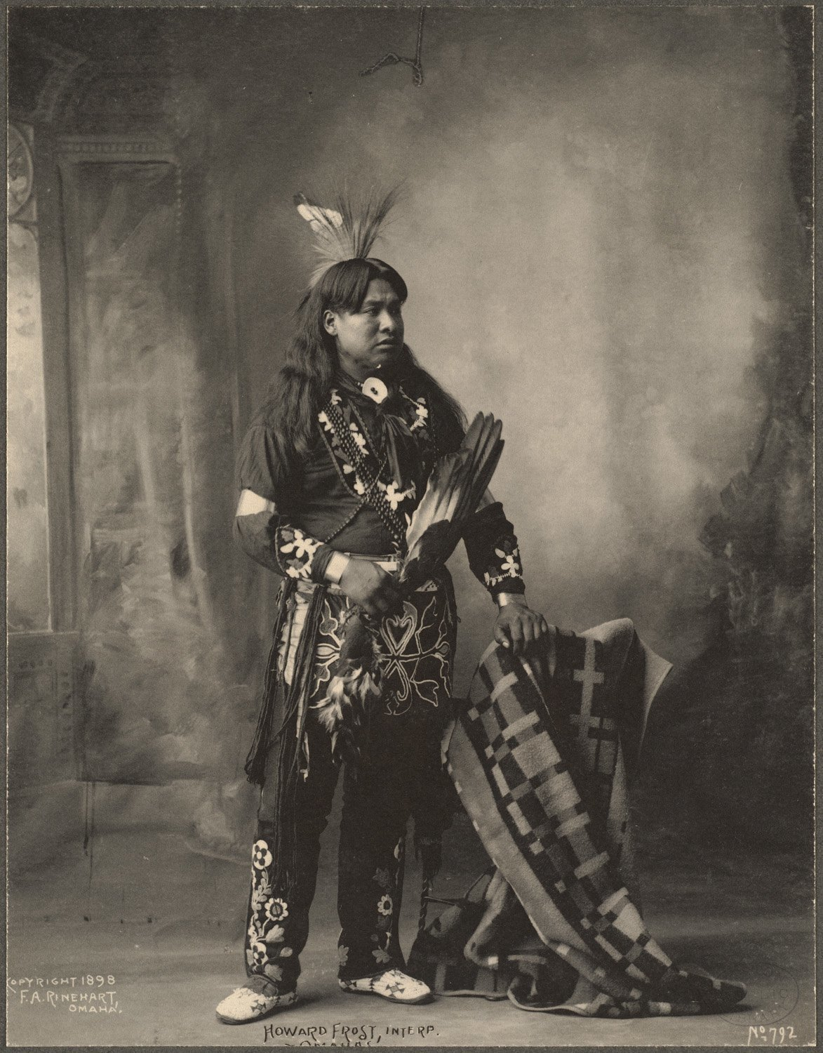 Howard Frost, Interp., Omahas, 1899. (Photo by Frank A. Rinehart)