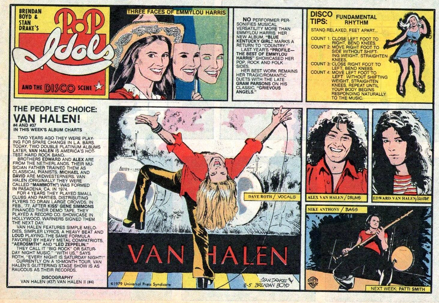 POP IDOLS AND THE DISCO SCENE Newspaper Strip Sunday August 5 1979