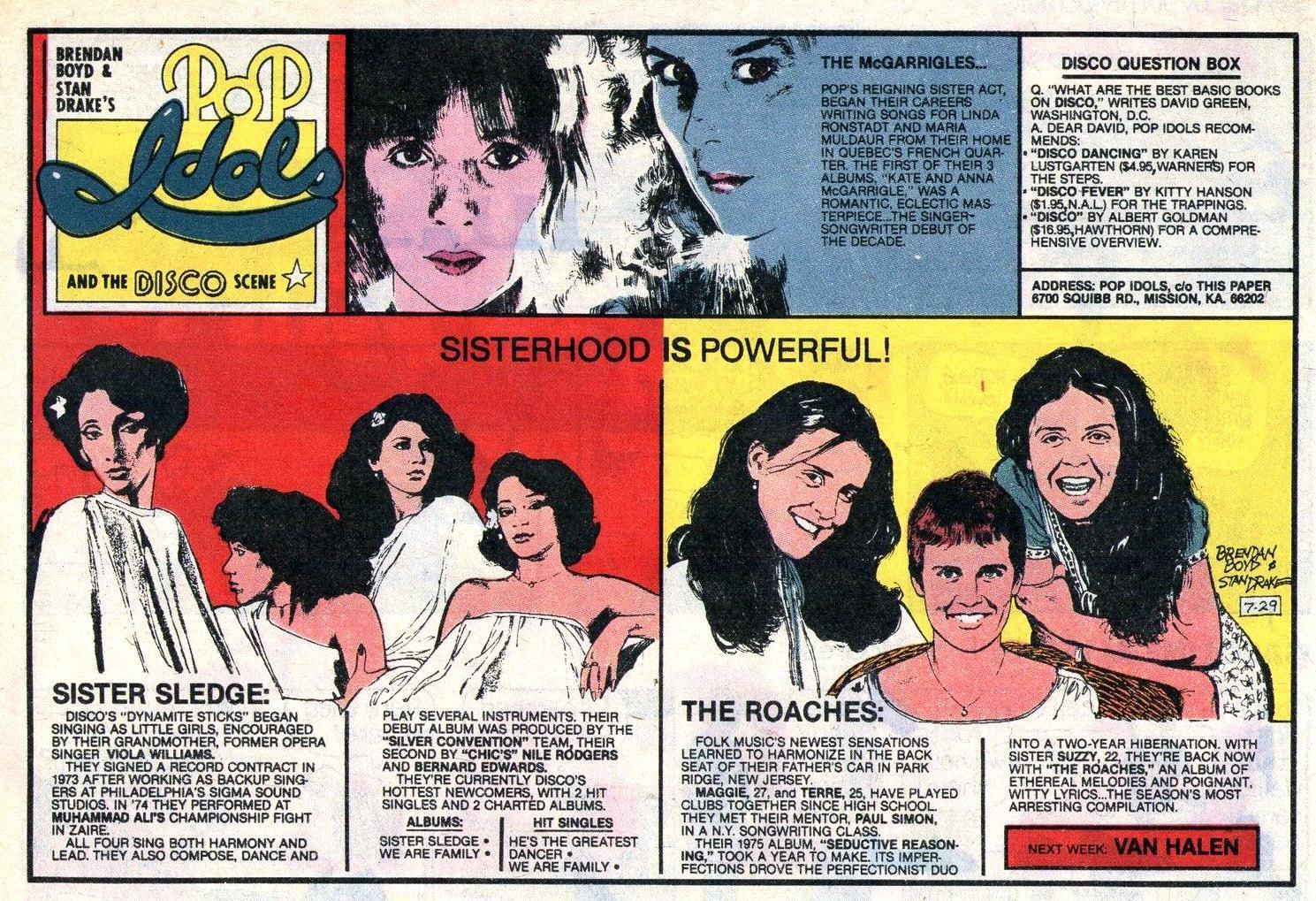 POP IDOLS AND THE DISCO SCENE Newspaper Strip Sunday July 29 1979