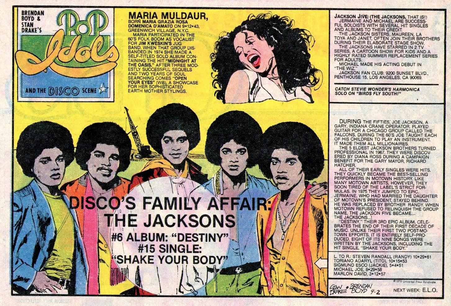 POP IDOLS AND THE DISCO SCENE Newspaper Strip Sunday Sept 2 1979