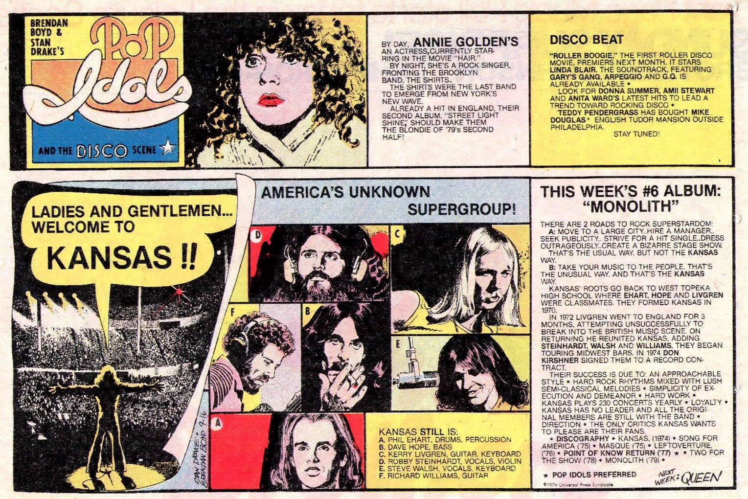 POP IDOLS AND THE DISCO SCENE Newspaper Strip Sunday  September 16 1979