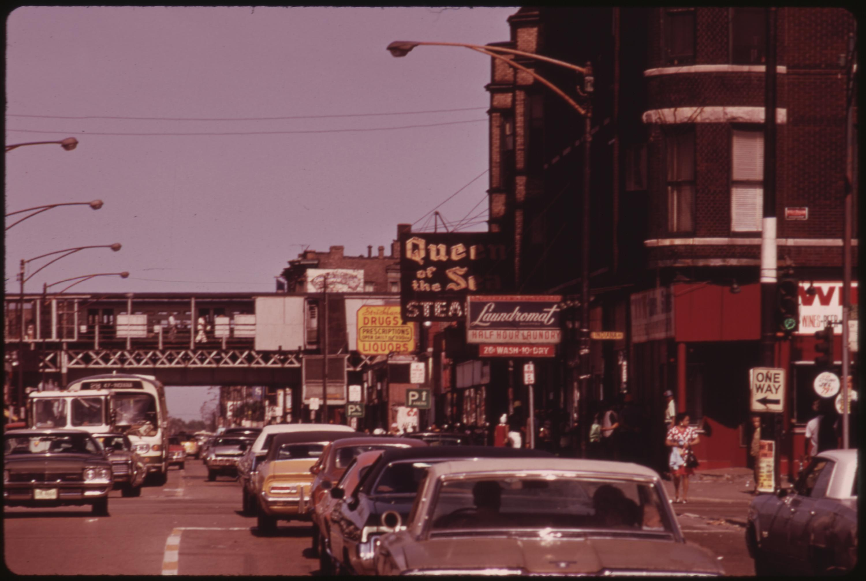 Scene In South Side Chicago On 47th Street, A Busy Thoroughfare Where Many Small Black Businesses Are Located Many Of The City's Black Business Owners Started With Small Operations And Grew With Hard Work, 06:1973