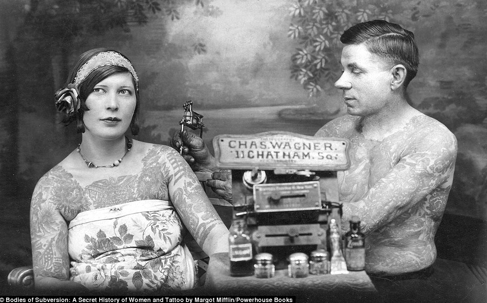 By the 1920s, tattoos were seen as seriously stylish, including by this woman seen being inked by legendary Bowery tattooist Charlie Wagner