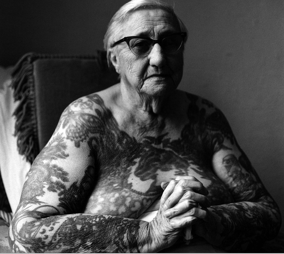 Circus attraction turned tattooist Irene 'Bobbie' Libarry, (photographed in 1976) followed in the footsteps of pioneering female tattooist, Maud Wagner