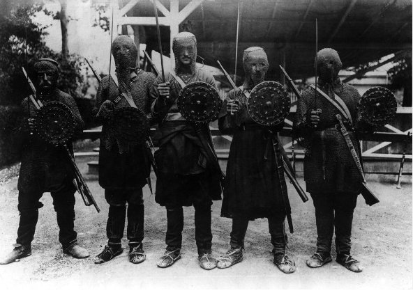 Georgian warriors of the Khevsur tribe wearing the traditional suit of armour - May/June 1918