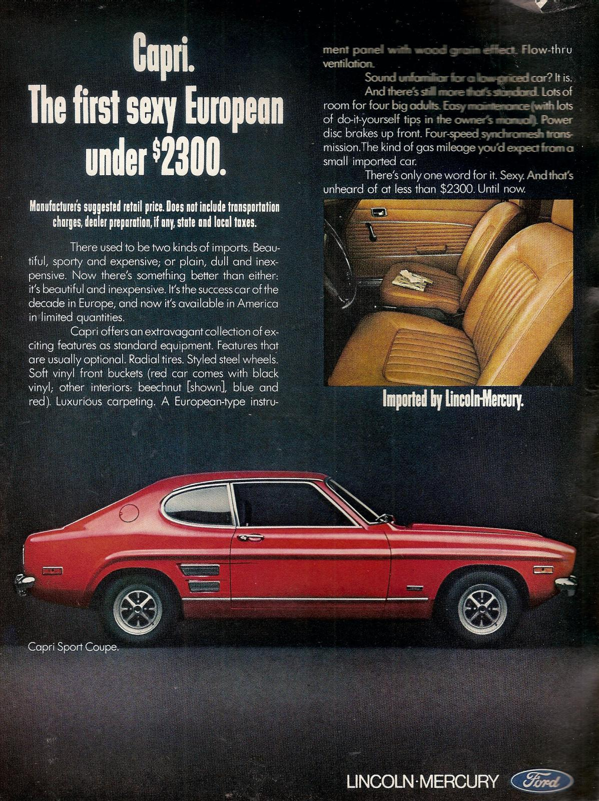 European Motor Cars >> 'The Car You Always Promised Yourself' - Ford Capri ads ...