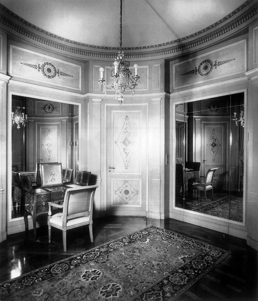 The circular powder room with curved doors on the main floor of Bellosguardo, the Clark summer home in Santa Barbara, California. This photo is from about 1940.