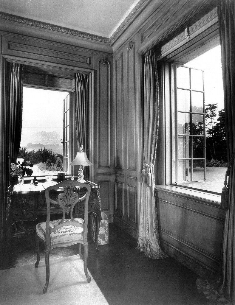 The view out to the Santa Ynez Mountains, c. 1940, from a bedroom at Bellosguardo, the Clark summer home in Santa Barbara, California.