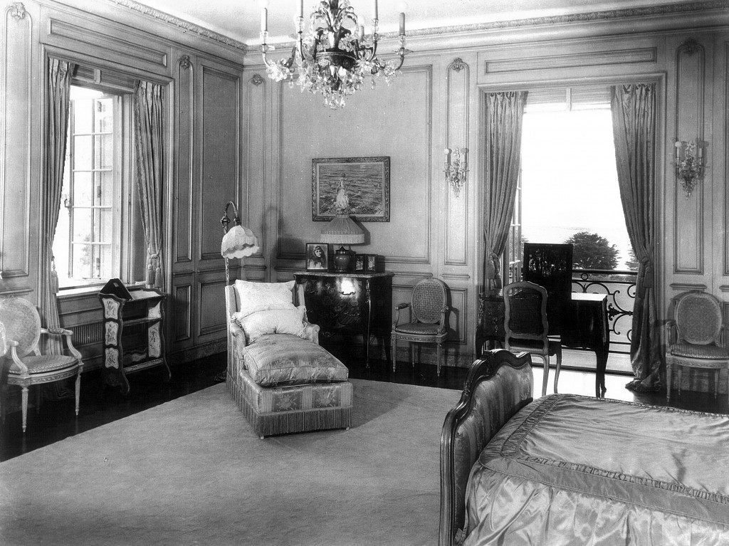 Anna Clark's bedroom at Bellosguardo, the Clark summer home in Santa Barbara, California. Photos show Huguette's sister, Andrée.