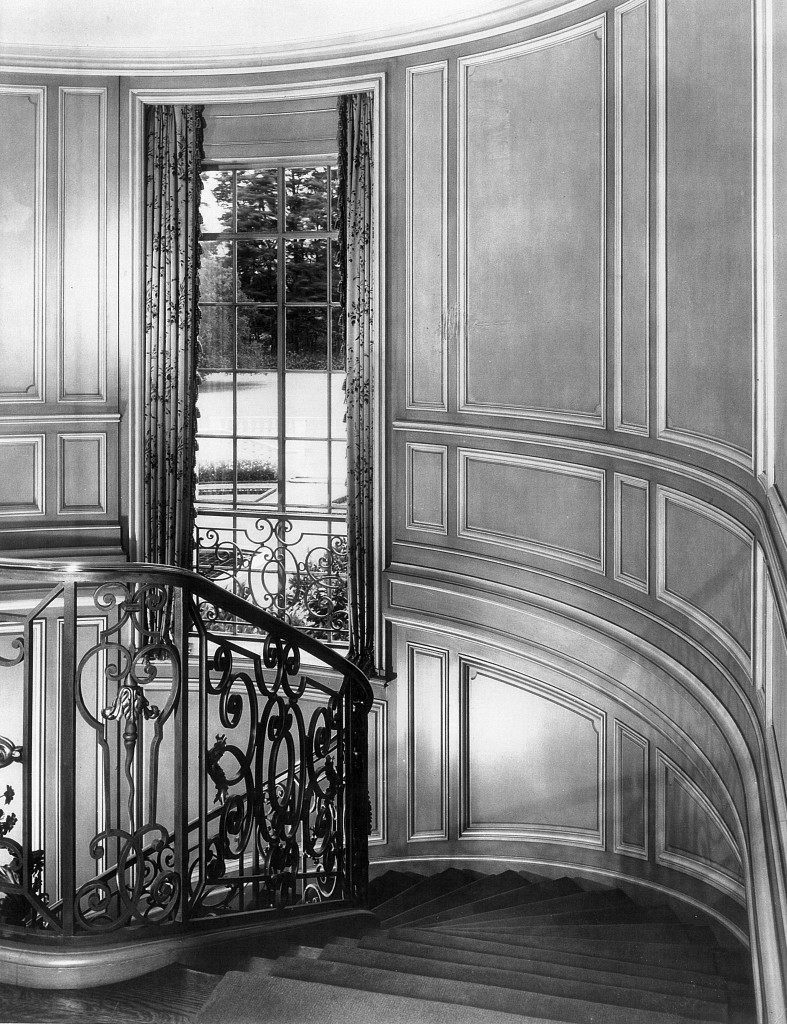 The stairway in about 1940 at Bellosguardo, the Clark summer home in Santa Barbara, California.