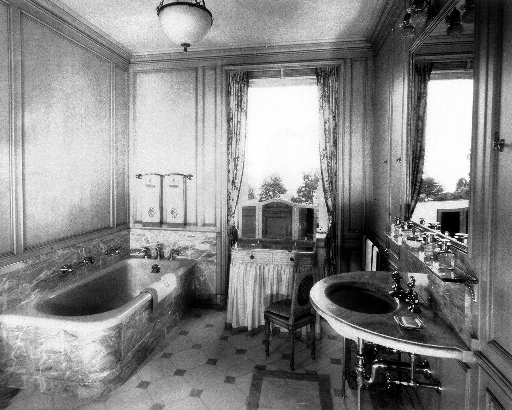 A bathroom upstairs at Bellosguardo, the Clark summer home in Santa Barbara, California. This photo is from about 1940.