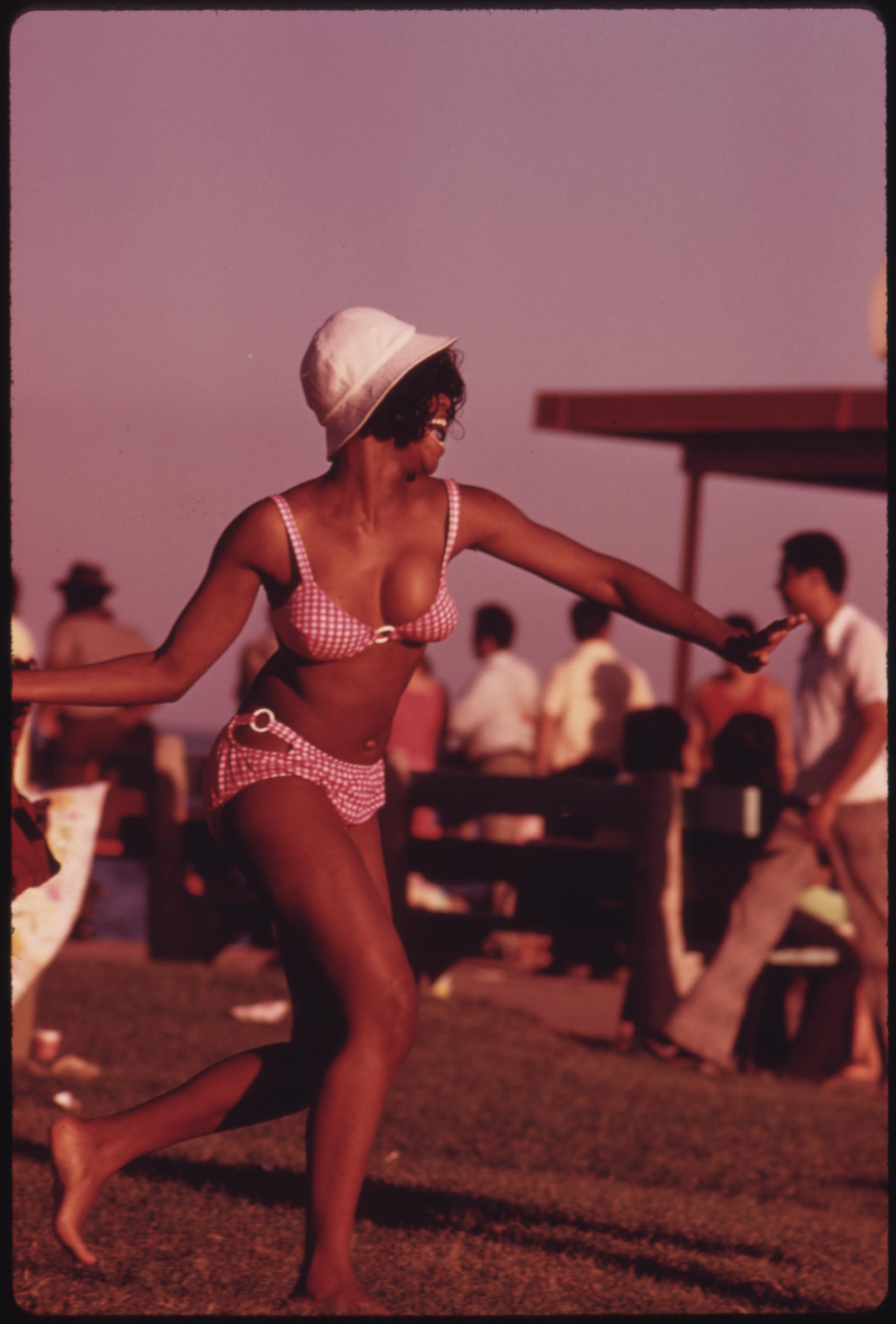 Woman Enjoys Her Summer Outing At Chicago's 12th Street Beach On Lake Michigan, 08:1973 John H. White