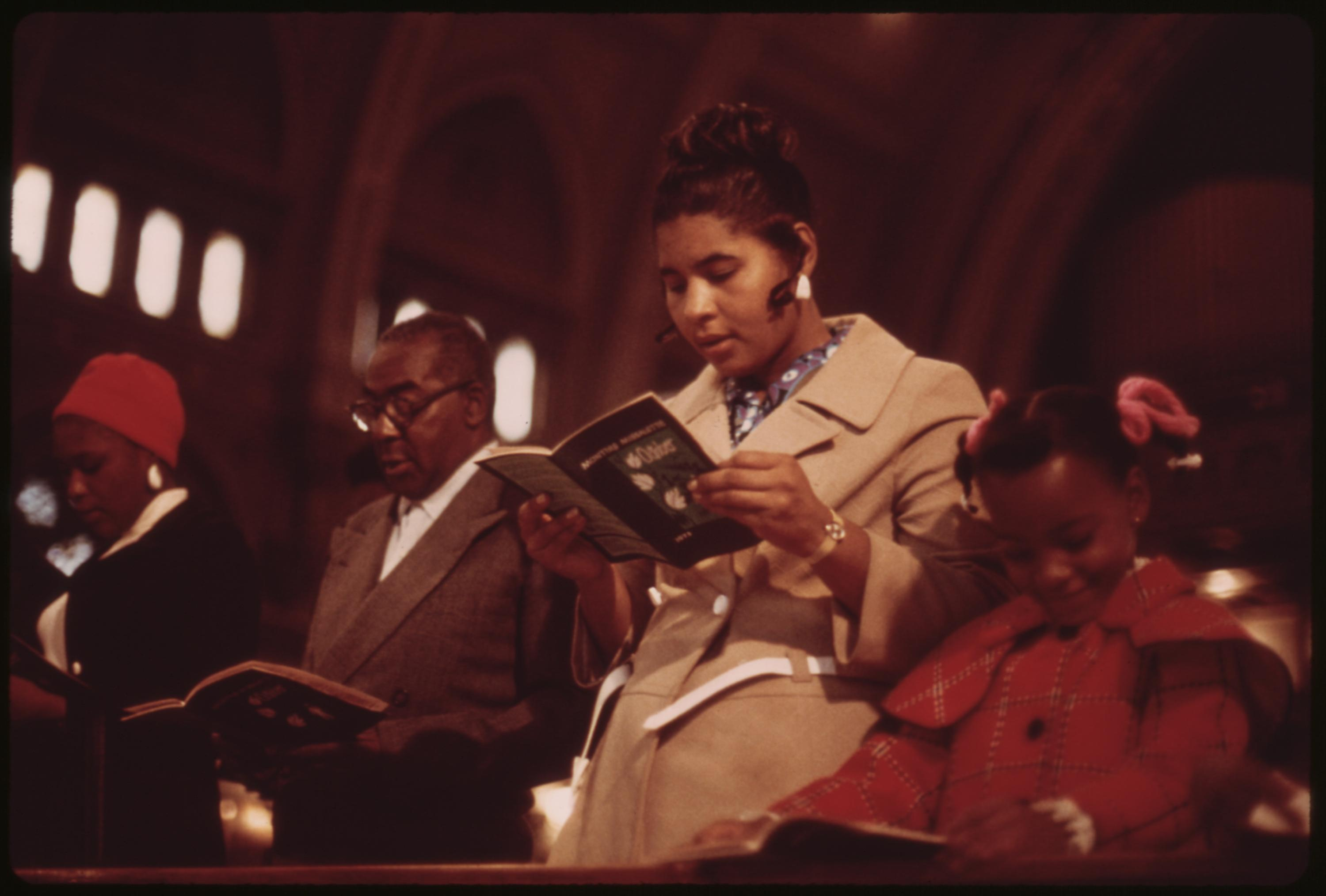 Worshippers At Holy Angel Catholic Church On Chicago's South Side. It Is The City's Largest Black Catholic Church. The Pastor Is Father George H. Clements, A Leader In The Black Community, 10:1973 John H. White