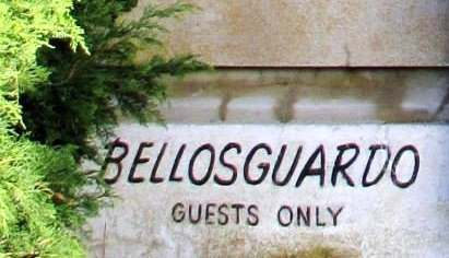 A sign by the main gate at Bellosguardo, the Huguette Clark estate in Santa Barbara, California.
