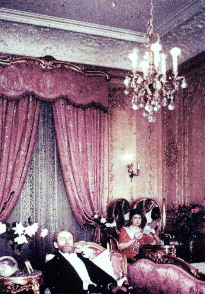 W.A. and Anna Clark, Huguette's parents, in the old Clark Mansion on Fifth Avenue. This room is said to be Anna's bedroom.