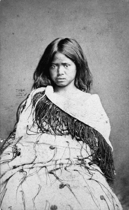 Portrait of a Maori girl from the Ihaka family, 1877-1880