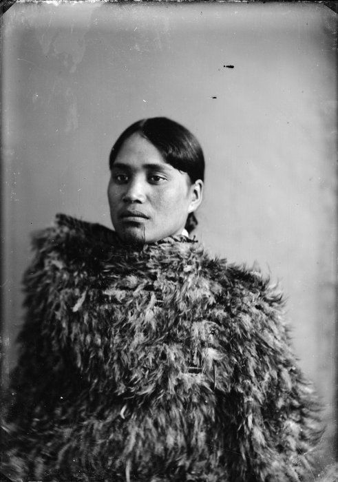 Carte de visite portrait of Atiria Te Hauwaho, wife of Wiremu Broughton of Ngapuke, taken 10 December 1881 by Samuel Carnell of Napier.