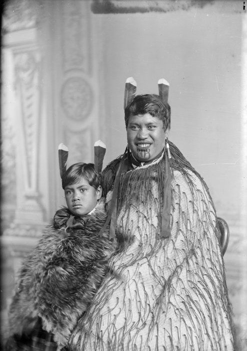 Carte de visite portrait of a Maori woman and child from Hawkes Bay, taken, probably between 1880 and 1900, by Samuel Carnell of Napier.
