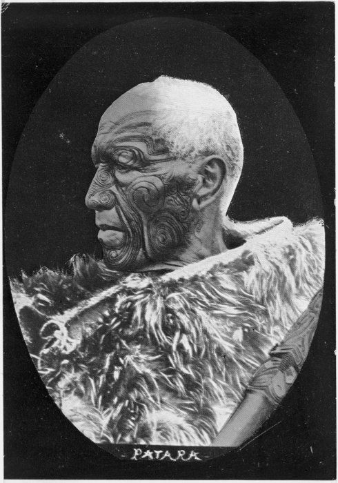 Patara Te Ngungukai, ca 1890s Reference Number: 1/2-094045-F Head and shoulders portrait of Maori chief Patara Te Ngungukai, photographed circa 1890s by an unidentified photographer. Shows him in profile, wrapped in a cloak. He has a facial moko. Key terms: 1 image, related to Te Ngungukai, Patara, Rangatira and Maori - Moko. Part of: Patara Te Ngungukai, Reference Number 1/2-094045-F (1 digitised items) Extent: 1 b&w original negative(s)Film copy negative. Oval image, verticalSingle negative Conditions governing access to original: Not restricted Other copies available: File print available in Turnbull Library Pictures920. Patara(PFP-027845) Usage: You can search, browse, print and download items from this website for research and personal study. You are welcome to reproduce the above image(s) on your blog or another website, but please maintain the integrity of the image (i.e. don't crop, recolour or overprint it), reproduce the image's caption information and link back to here (http://mp.natlib.govt.nz/detail/?id=32276).