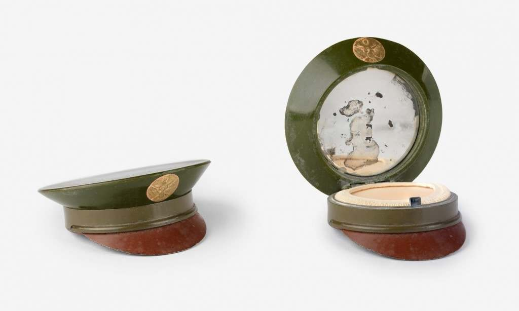 Everyday items reflected military themes, such as this powder compact in the shape of a US army officer's cap.
