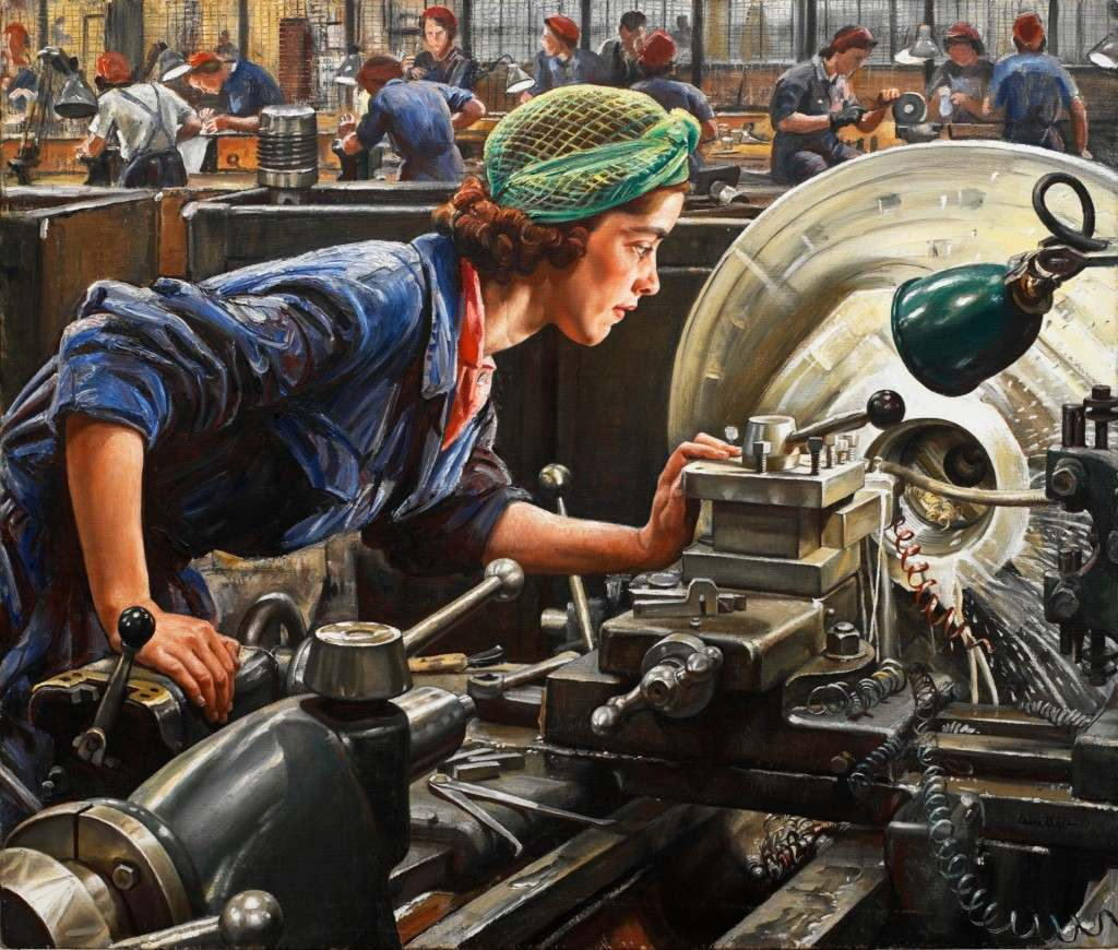 Painting of factory worker Ruby Loftus wearing overalls and headscarf, Laura Knight, 1943.