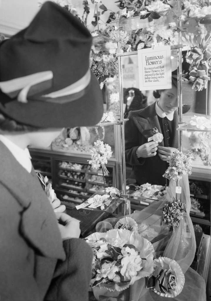 The perfect blackout accessory – luminous flowers on sale at Selfridges, 1940.