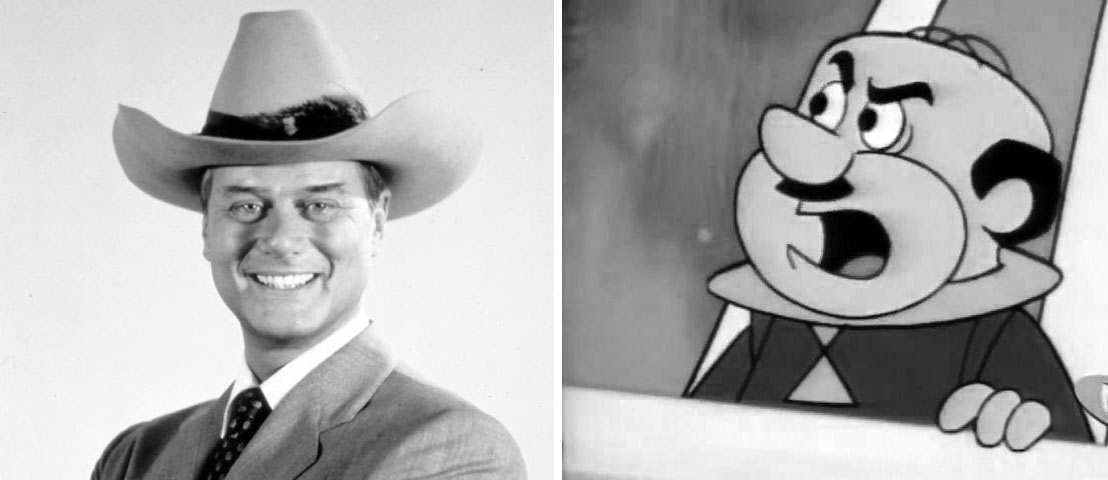 Larry Hagman on Dallas, Cosmo Spacely on the Jetsons