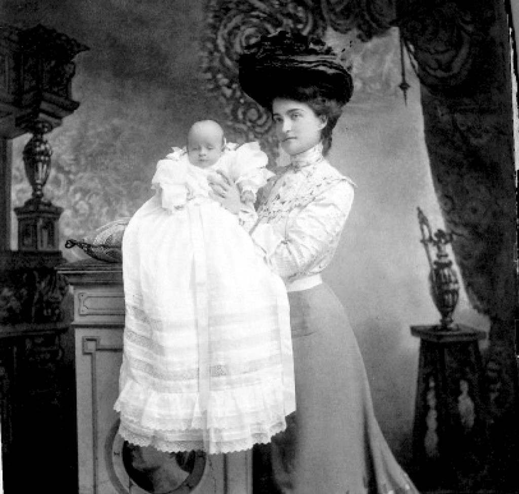 Anna Clark with the newborn Huguette.