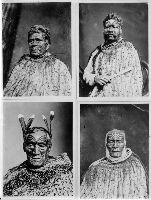 ndividual portraits of Haami te Hau Nuhaka, Ihaka Whaanga and two unidentified Maori men. Taken by an unknown photographer circa 1876.