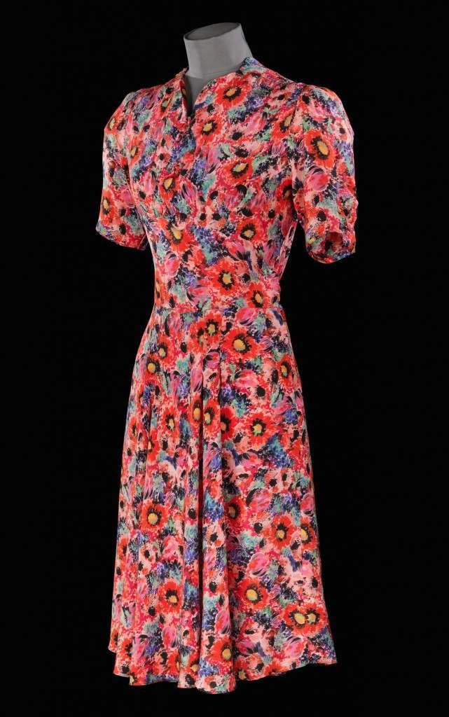 A utility dress made of printed rayon at the exhibition.